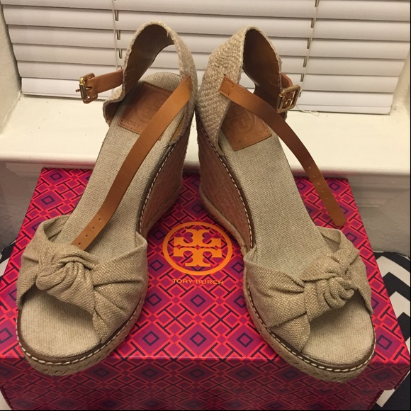 6dafae0be Tory Burch  Macy  Leather Wedge Espadrille Sandals